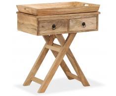 vidaXL Mesa auxiliar de madera maciza de mango 65x40x76 cm