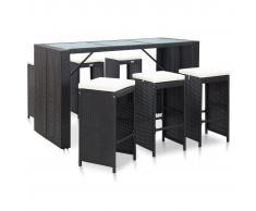 vidaXL Mesa y sillas bar jardín 7 pzas y cojines ratán sintético negro