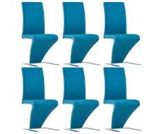 vidaXL Sillas de comedor forma de zigzag 6 uds cuero sintético azul