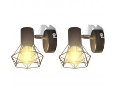 vidaXL Aplique lámpara de pared LED, 2 uds., negro, estilo industrial