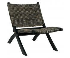 vidaXL Silla de ratán kubu natural y madera maciza de caoba negro