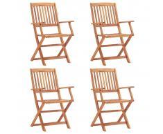 vidaXL Sillas plegables de jardín 4 unidades madera de acacia maciza