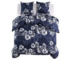 vidaXL Funda nórdica 3 piezas floral 200x200/60x70cm azul marino
