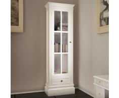 vidaXL Estantería moderna con 3 estantes de madera blanca desgastada