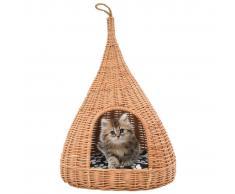 vidaXL Casa para gatos con cojín y forma de tipi sauce natural 40x60cm