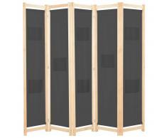 vidaXL Biombo divisor 5 paneles de tela gris 200x170x4 cm