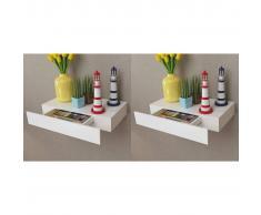 vidaXL Estantes de pared flotantes con cajones 2 uds blanco 48 cm