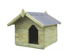vidaXL Casa de perro jardín tejado abierto madera pino impregnada FSC