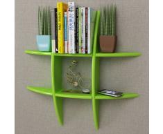 vidaXL Estante exhibidor flotante de tablero DM verde para libros/DVDs