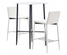 vidaXL Juego de mesa alta y taburetes 3 piezas cuero sintético blanco