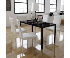 vidaXL Conjunto de mesa de comedor 5 piezas blanco y negro