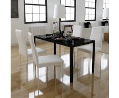 vidaXL Conjunto de mesa comedor 5 piezas blanco y negro