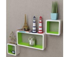 vidaXL Estantes de cubo pared flotante MDF blanco-verde