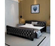 vidaXL Cama doble con colchón viscoelástico negra 180x200 cm