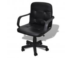 vidaXL Silla De Oficina Cuero Calidad Negro 59 x 51 81-89 Cm