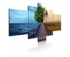 DEKOARTE Cuadro moderno en lienzo, naturaleza paisaje entre mar y desierto.