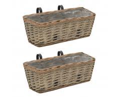 vidaXL Juego cestas almacenaje mimbre con revestimiento de PE 2 piezas