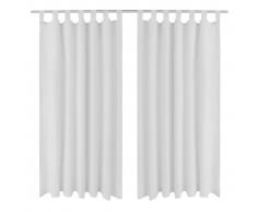 vidaXL 2 cortinas blancas micro-satinadas con trabillas, 140 x 245 cm