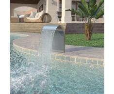 vidaXL Fuente de piscina de acero inoxidable plateada 45x30x65 cm