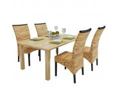 vidaXL Sillas de comedor 4 unidades madera maciza de mango y abacá