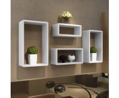 vidaXL Set de estante de 4 en forma de cubo blanco