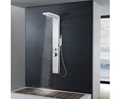 vidaXL Sistema de panel ducha acero inoxidable cuadrado