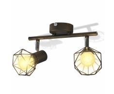 vidaXL Lámpara LED de techo, estilo industrial, dos focos negro