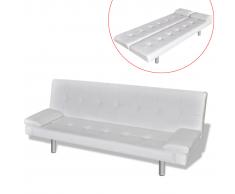 vidaXL Sofá cama con dos almohadas ajustable blanco crema