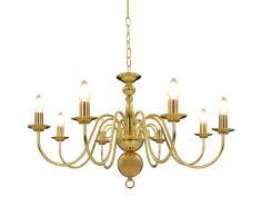 vidaXL Lámpara de araña dorada con 8 bombillas E14