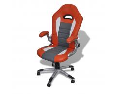 vidaXL Silla De Oficina Cuero Diseño Moderno Naranja