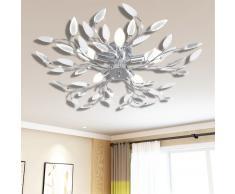 vidaXL Lámpara de techo brazos de cristal forma hoja 5 bombillas E14