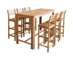 vidaXL Set mesa de bar y sillas 7 piezas de madera de acacia maciza