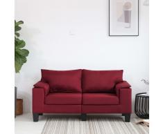 vidaXL Sofá de 2 plazas de tela color vino tinto