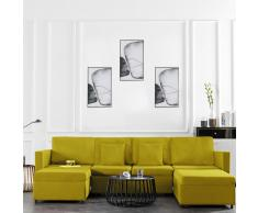 vidaXL Sofá cama extraíble de 4 plazas tela amarillo