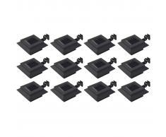 vidaXL Lámparas solares LED de exterior 12 uds. cuadradas 12 cm negro
