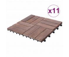 vidaXL Baldosas de terraza 11 uds madera maciza reciclada 30x30 cm