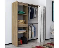 vidaXL Armario ropero de roble cortina ajustable en anchura 121-168cm