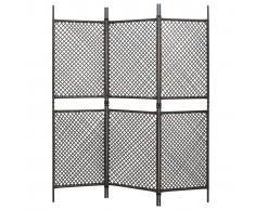 vidaXL Biombo de 3 paneles de ratán sintético marrón 180x200 cm