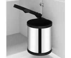 vidaXL Papelera de cocina empotrada acero inoxidable 12 L