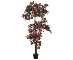 vidaXL Planta artificial rododendro con macetero rosa 165 cm