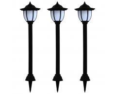 vidaXL Lámparas solares LED de exterior 3 unidades negro