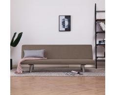 vidaXL Sofá cama de poliéster gris taupe