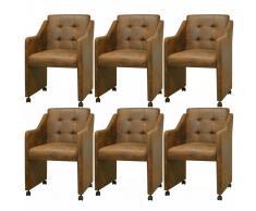 vidaXL Sillas de comedor 6 unidades cuero artificial marrón