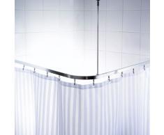 RIDDER Riel de cortina de ducha de esquina con ganchos cromado 52500