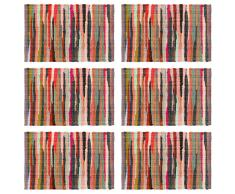 vidaXL Mantel individual 6 uds Chindi liso algodón multicolor 30x45 cm