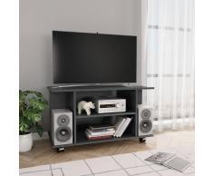 vidaXL Mueble para TV con ruedas aglomerado gris brillante 80x40x40 cm
