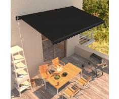 vidaXL Toldo retráctil manual gris antracita 450x300 cm