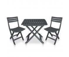 vidaXL Mesa y sillas plegables de jardín 3 piezas plástico antracita