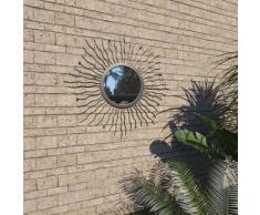 vidaXL Espejo de pared de jardín con forma de sol 60 cm negro