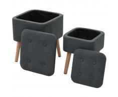 vidaXL Taburetes almacenamiento 2 piezas tela gris oscuro